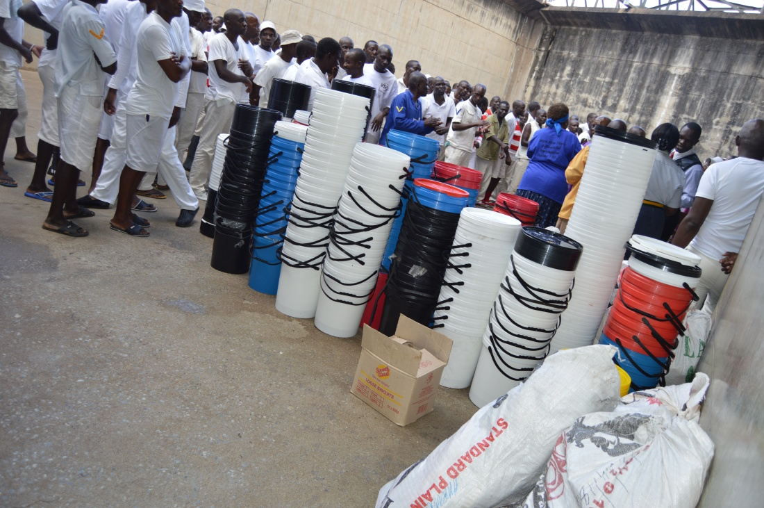 Buckets and slippers donated by Mercy Servants to Chikurubi Maximum prison..JPG