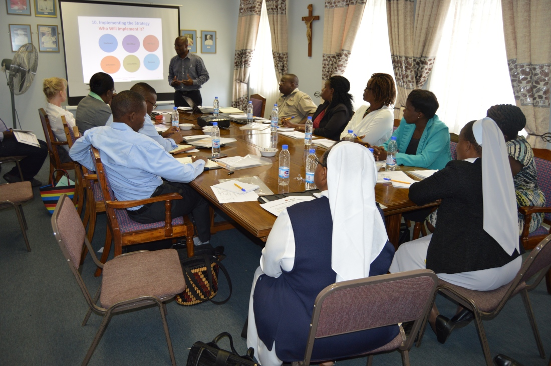 Caritas Coordinators during a workshop to review their work.