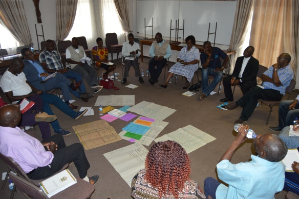 CCJP Coordinators  deliberating during the  Trainining of Trainers workshop held in Harare..JPG