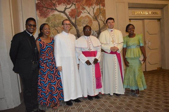 Fr. Padya, Tariro Kambasha, Monsignor Gabriele Pesce, Archbishop Marek Zalewski and Glendor Mubvuringi fromSOCCOM Harare.JPG