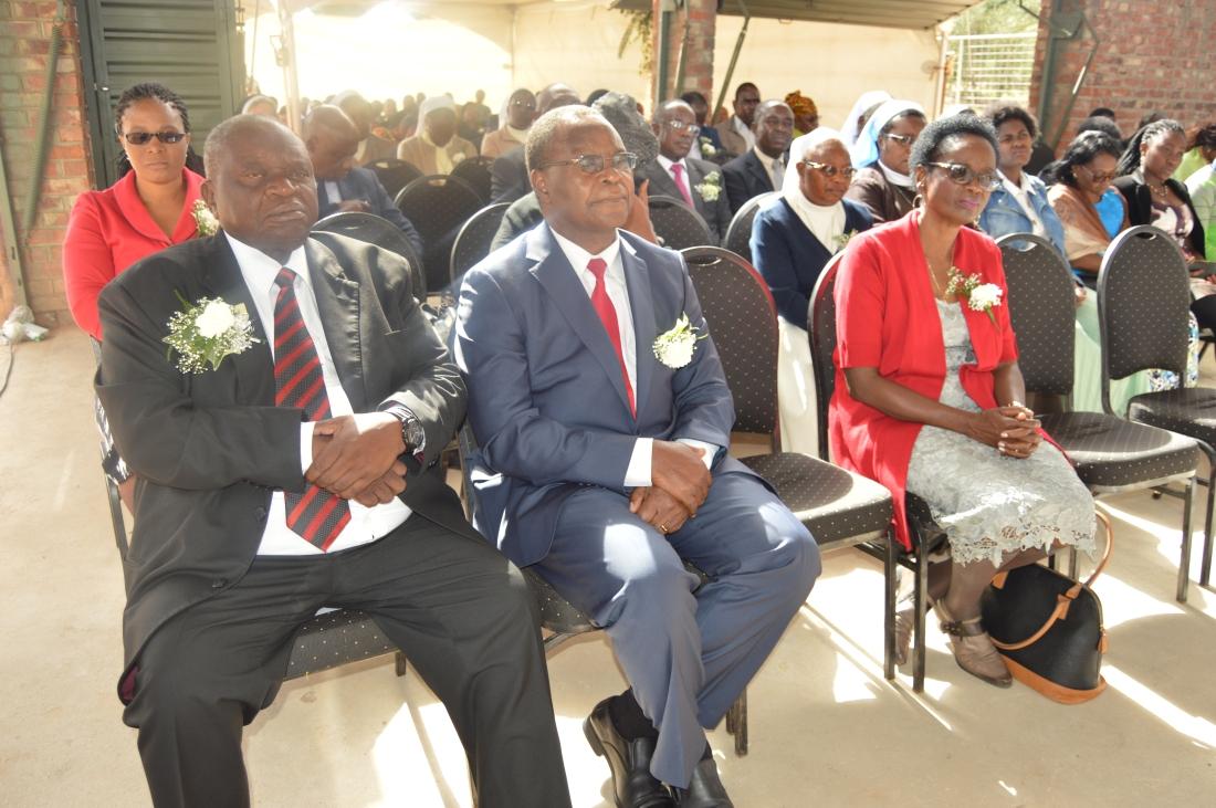 Catholic University of Zimbabwe Chairman of the Council, Mr. Chris Mbanga (left) seats next to the University Vice Chancellor, Professor Ranga Zinyemba and his wife Dr. Alice Zinymmba.JPG