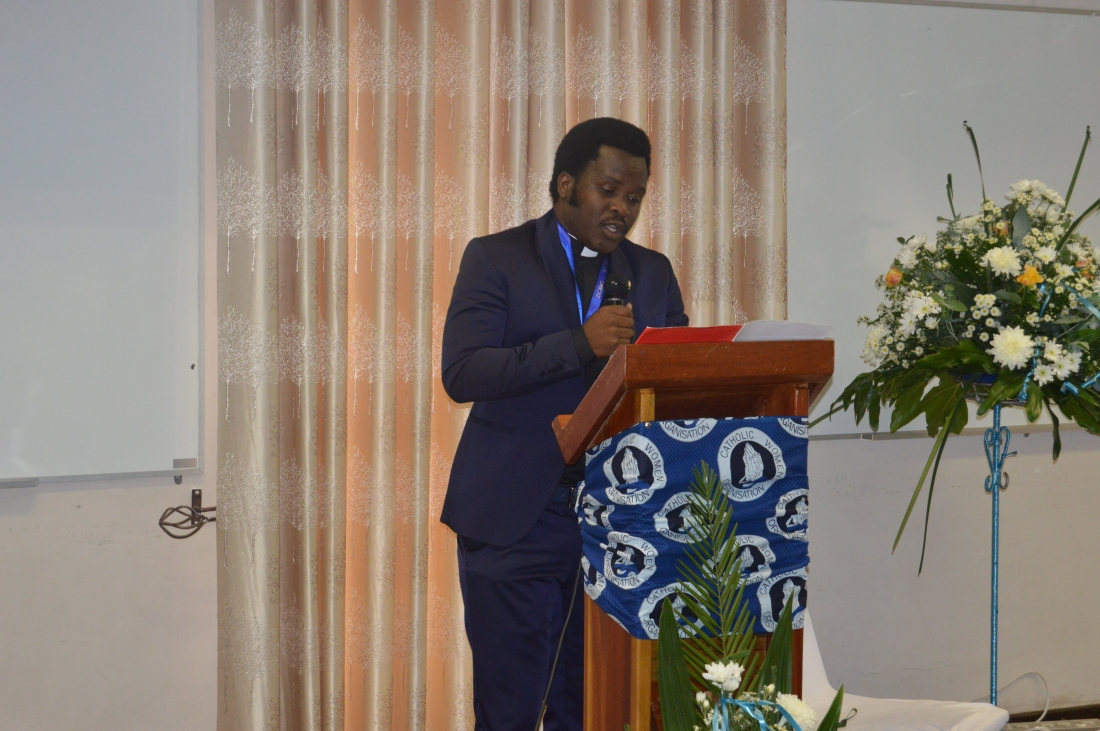 Fr. Claud MAganga making a presentation during the ZCBC Pleanary Meeting.JPG