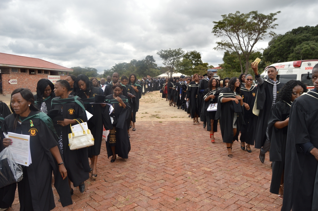 Graduating students in procession to the graduation arena..JPG