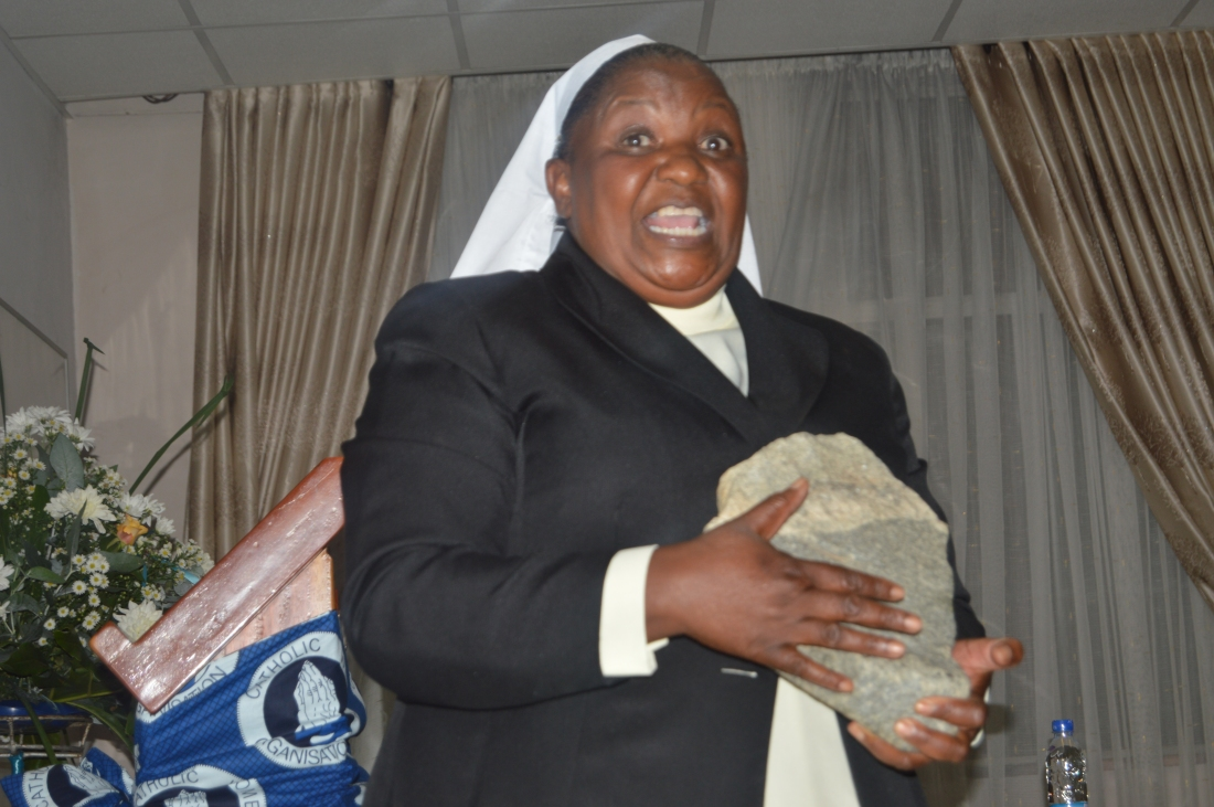 Sr. Diana Kanyere LCBL making a point during her presentation at the ZCBC Plenary  meeting.JPG