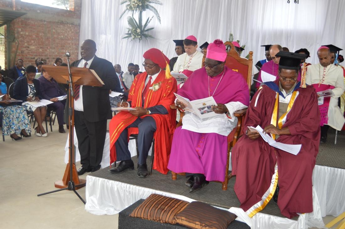 The Catholic University Chancellor, Archbishop Robert Ndlovu flanked by University Vice Chancellor,  Professor Ranga Zinyemba and Br. Mada..JPG