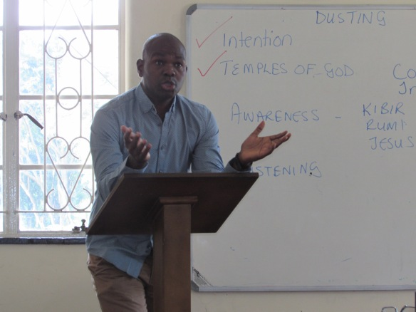 Fr. Mark Chikuni lecturing to the students of the formation programme.