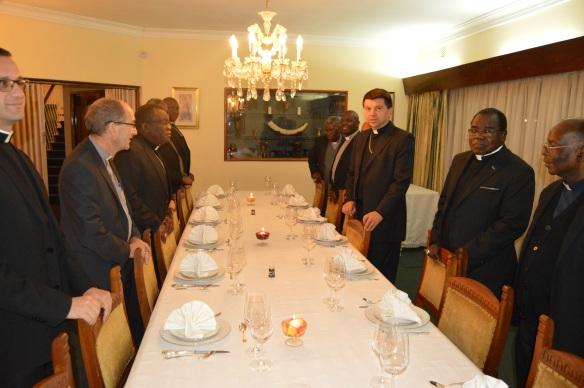 Archbishop Marek Zaleski and Zimbabwe Catholic Bishops at dinner.JPG
