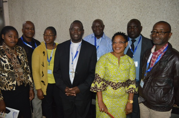 Bishop Rudolf Nyandoro flanked by Catholic Commission for Justice and Peace Diocesan Coordinators during the Religious Leaders Supporting the Zimbabwe Peace Process Conference.