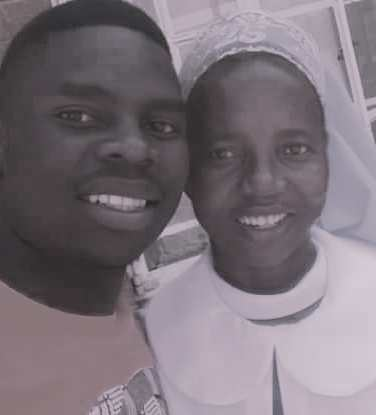 Sr. Faustina Chinamasa standing with a relative celebrated her silver jubilee.