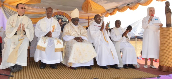 Archbishop Robert Ndlovu centre flanked by priests and Monsignor Gabriele during the 25th Annivervary of Sisters of Our Lady od Sorrows in Chegutu..jpg