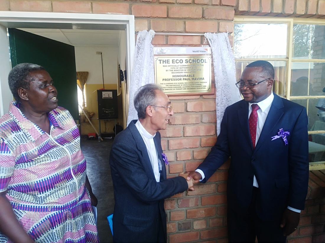 Bishop Albert Serrano and Minister of Primary and Secondary Education, Paul Mavima celebrate the commissioning of the first Eco-School.