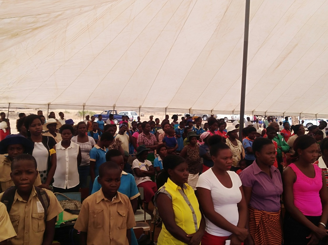 Crowds gather to witness the commission of the Eco-School in at St. Mary's Primary in Hwange.