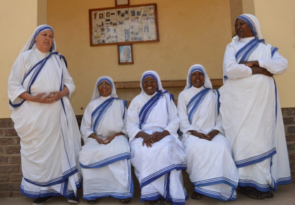 Five Missionary Sisters of Charity pose for a photo at their house in Adburne. They are Sr. Charbel Marie MC, Sr. Vikashini MC, Sr. Rajani, Sr. Eucharistia MC and Sr. Anciarita MC..JPG