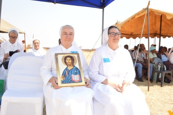 Mother Bertani holding the gift she presented to Sr. Luisa..JPG