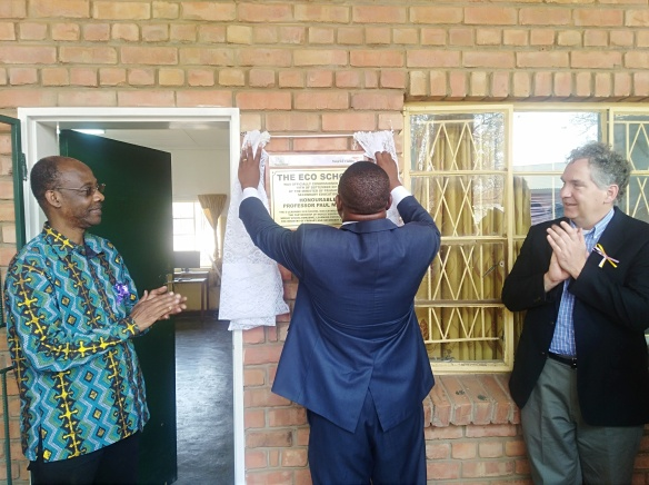 Primary and Secondary Education Minister Professor Paul Mavima commissions the first Eco-School at St. Mary's Primary in Hwange Diocese.