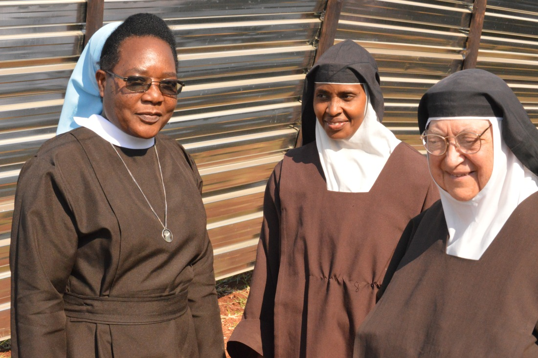 Mother Prioress of the Carmelite Nuns, Sr. Margaret Vargas, pose for a picture with Sr. Justin Nduku and the Social Communications Coordinator for Mutare Diocese, Sr. Marceline Mudambo (