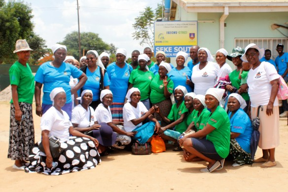 Members from different religious groups pose for a picture with ZCBC Health Commission Coordinator, Sr. Salome Mateko and Sr. Eugenia Sanyika