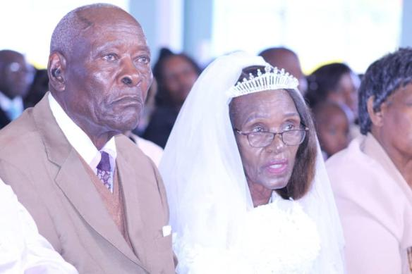 Mr. and Mrs Savanhu were the most senior of the group when couples renewed their marriage vows at st. Peter Canisius parish in Harare.