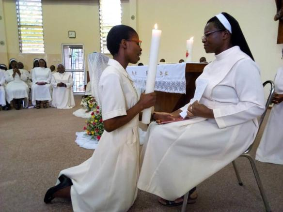 Sr. Rudo Matsika receives vows from the six newly professed sisters in the Congregation of the Dominican Missionary Sisters of the Sacred Heart of Jesus.
