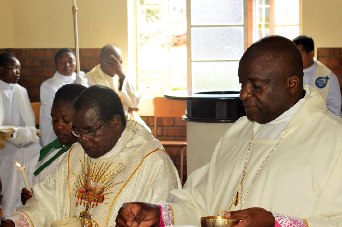 Bishop Bhasera (left) and Bishop Mupandasekwa distribute holy communion during mass