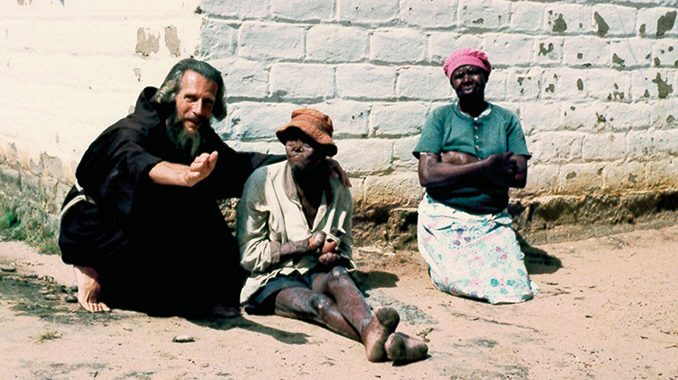 John Bradburne with some of the lepers at Mutemwa Leprosy Settlement before he was murdered