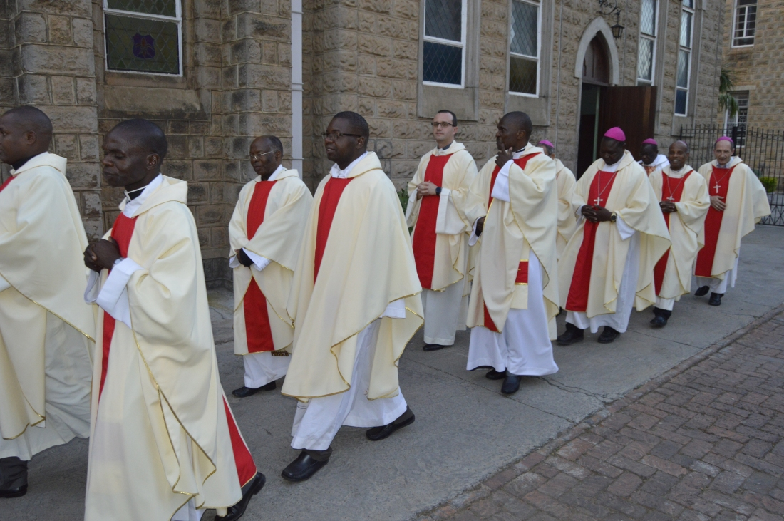 Priests and bishops in a procession for a mass to mark the end of the plenary in Harare.