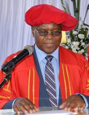 Profesor Zinyemba addresses the gathering during the Catholic University 16ty graduation.