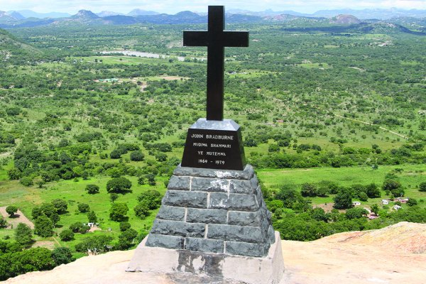 The cross placed at the top of the mountain where John Randal Bradburne used to pray.