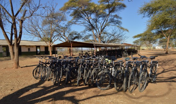 These bicycles were donated by Caritas to students who live far from from Nemangwe High School.